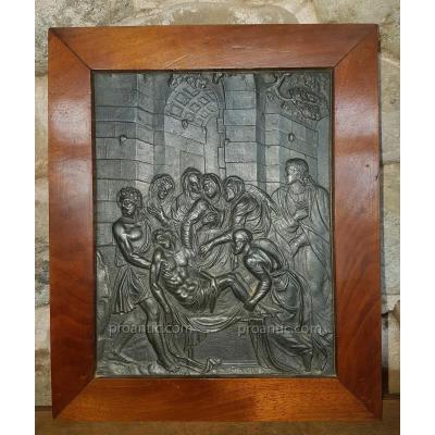 PLAQUE PLOMB LA DÉPOSITION XVI XVII DELLA PORTA BRONZE