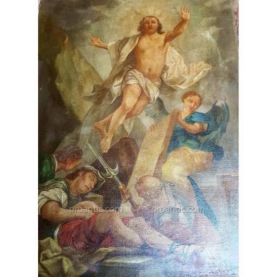 LA RÉSURRECTION DE JÉSUS HUILE SUR TOILE EPOQUE XVIIIe