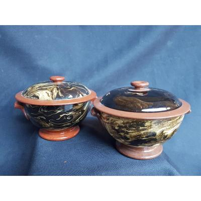 Pair Of Brown Covered Faience Fine Sarreguemines