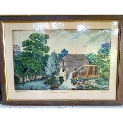 View Of Switzerland Watercolor Time Early XIX Lausanne Empire