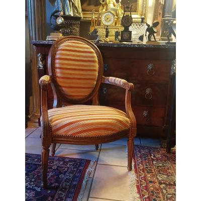 Armchair Louis XVI Stamped Denis Julian 18th