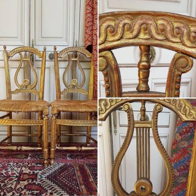 Pair Chairs Chair Louis XVI Louis XVI Painted Times Golden Wood