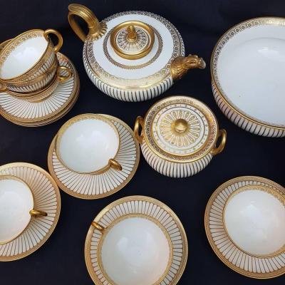 Porcelain Dresses Of Tea Service Charles X Empire DorÉ Sevres