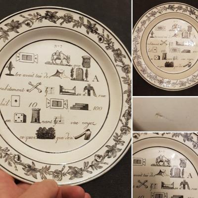 Fine Plate Montereau Grisaille Rebus Creil Empire