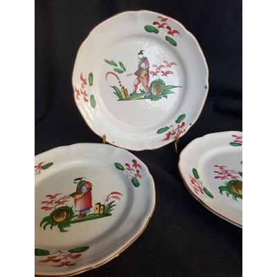 3 Plates Earthenware Plate The Islettes XVIIIth Chinese