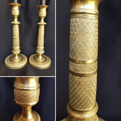 Pair Of Gold Bronze Candle Holders Empire Period Early XIX