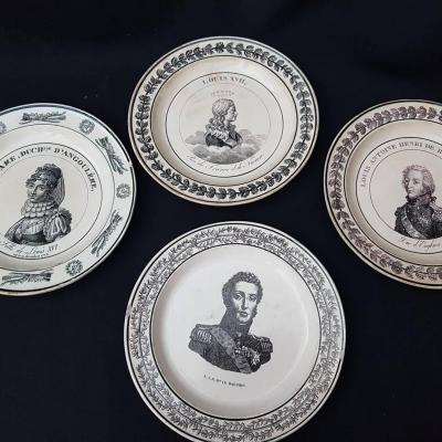 ENSEMBLE DE 4 ASSIETTES FINES ROYALISTE  LOUIS XVII MADAME ROYALE ENGHIEN CREIL CHOISY