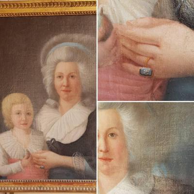 GRAND PORTRAIT ÉPOQUE XVIIIe LOUIS XVI FEMME ET ENFANT