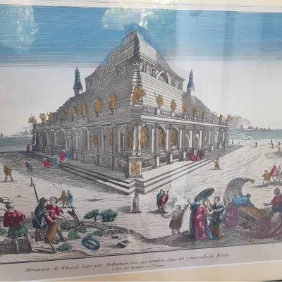 VUE D'OPTIQUE  TOMBEAU DE MAUSOLE HARLICARNASSE XVIIIe GRAVURE MERVEILLES DU MONDE
