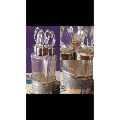 Set Of Solid Silver And Crystal Perfume Bottles Napoleon III Period Bottle