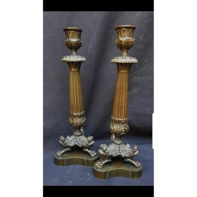 Pair Of Candle Bronze Candle Holders Charles X Period