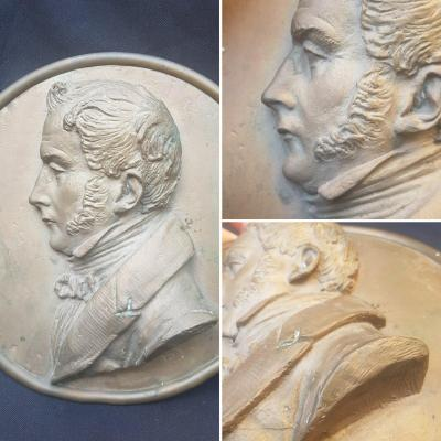 Charles X Bronze Profile Bas-relief Silhouette