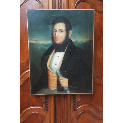 Hst Portrait Of Romantic Man About 1830 Dandy 82 Cm X 63 Cm