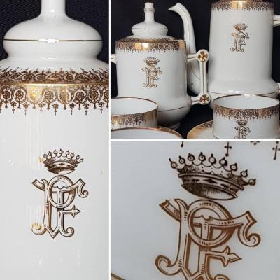 Comtale Crown Porcelain Tea Set Limoges Arms