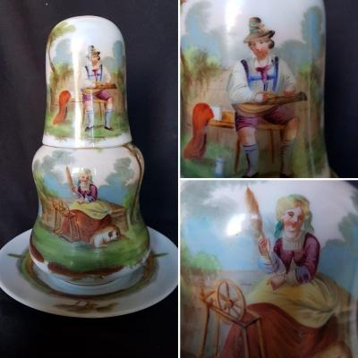 Glass Of Water In Painted Opaline Romantic Period Servant Of Night