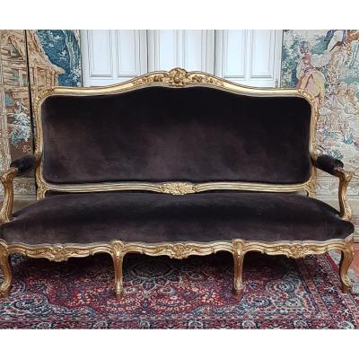Large Golden Wooden Sofa Napoleon III Louis XV Bench
