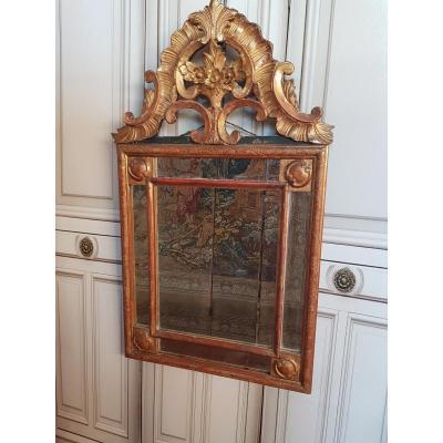 Golden Wood Parclosed Mirror Louis XV Regency Period XVIIIth