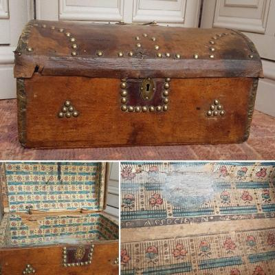 Morocco Cassette Box XVII Studded Leather Box Louis XV Dominotated Paper