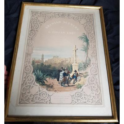 ESPAGNE ALCAZABA DE MALAGA LITHOGRAPHIE ROMANTIQUE GEORGE VIVIAN 1838
