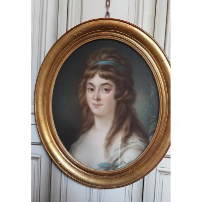 PORTRAIT  DE FEMME AU PASTEL DANS LE GOUT  XVIIIe MILIIEU XIXe MADAME ROLAND