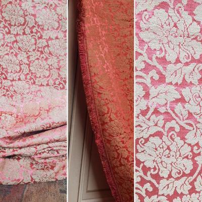 Pair Of Napoleon III Damascus Silk Curtains