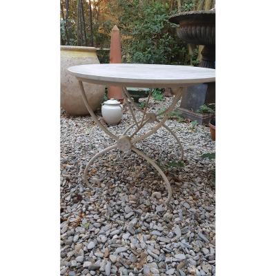 Charles X Gueridon Garden Table XIXth Wrought Iron And Marble