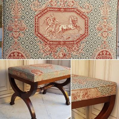 Large Curulated Stool Empire Style Mahogany Sofa End Side Table