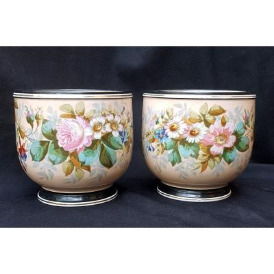 Pair Of Paris Porcelain Cover-pots From The Napoleon III Period