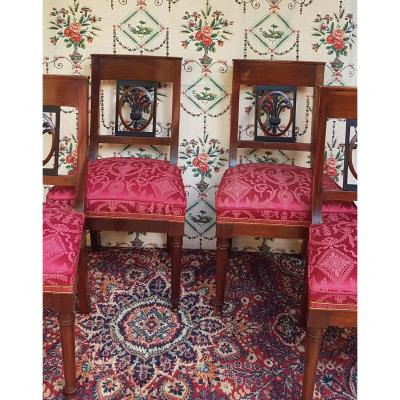 Series Of 4 Mahogany Chairs Period Consulate In The Etruscan Empire