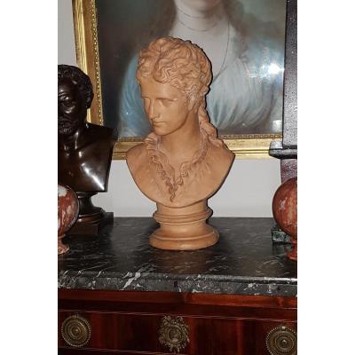 Bust Of A Woman In Terracotta XIXth 36 Cm Duchess d'AlenÇon?