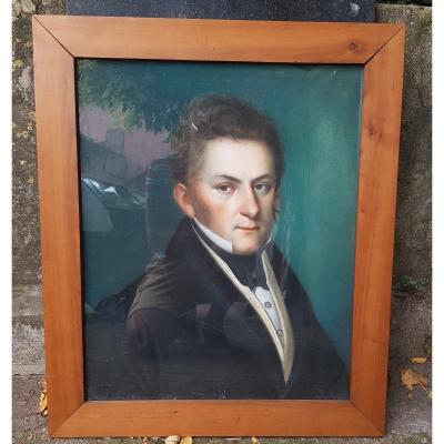 PORTRAIT AU PASTEL JEUNE HOMME VERS 1825 - 1830 CHARLES X