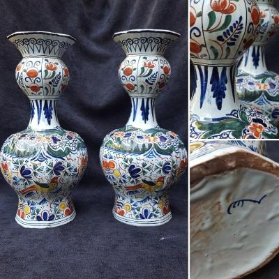 Pair Of Double Bottle Vases Delft Early Eighteenth Early XIXth
