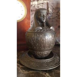 CANOPE VASE RETOUR D ÉGYPTE  ÉPOQUE NAPOLÉON III REGULE EMPIRE  EGYPTOMANIA CABINET DE CURIOSITÉ VISCÈRES