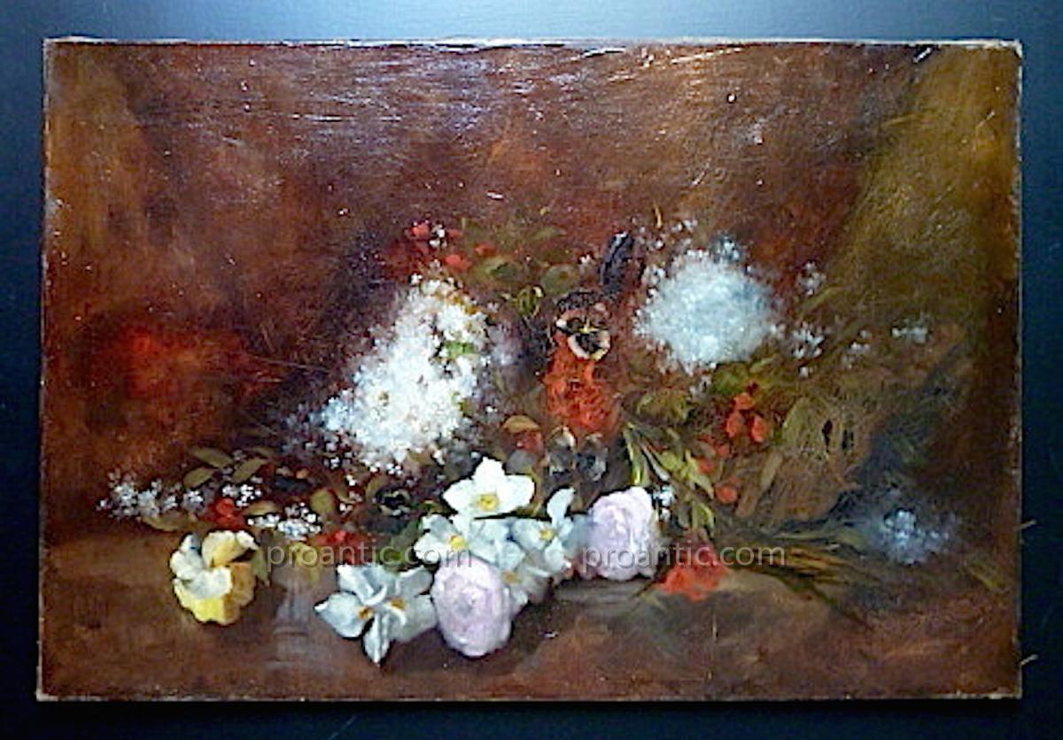 D Enjolras Nature Morte Jetee De Fleurs Roses Pensees Lilas Signé   XIX XX
