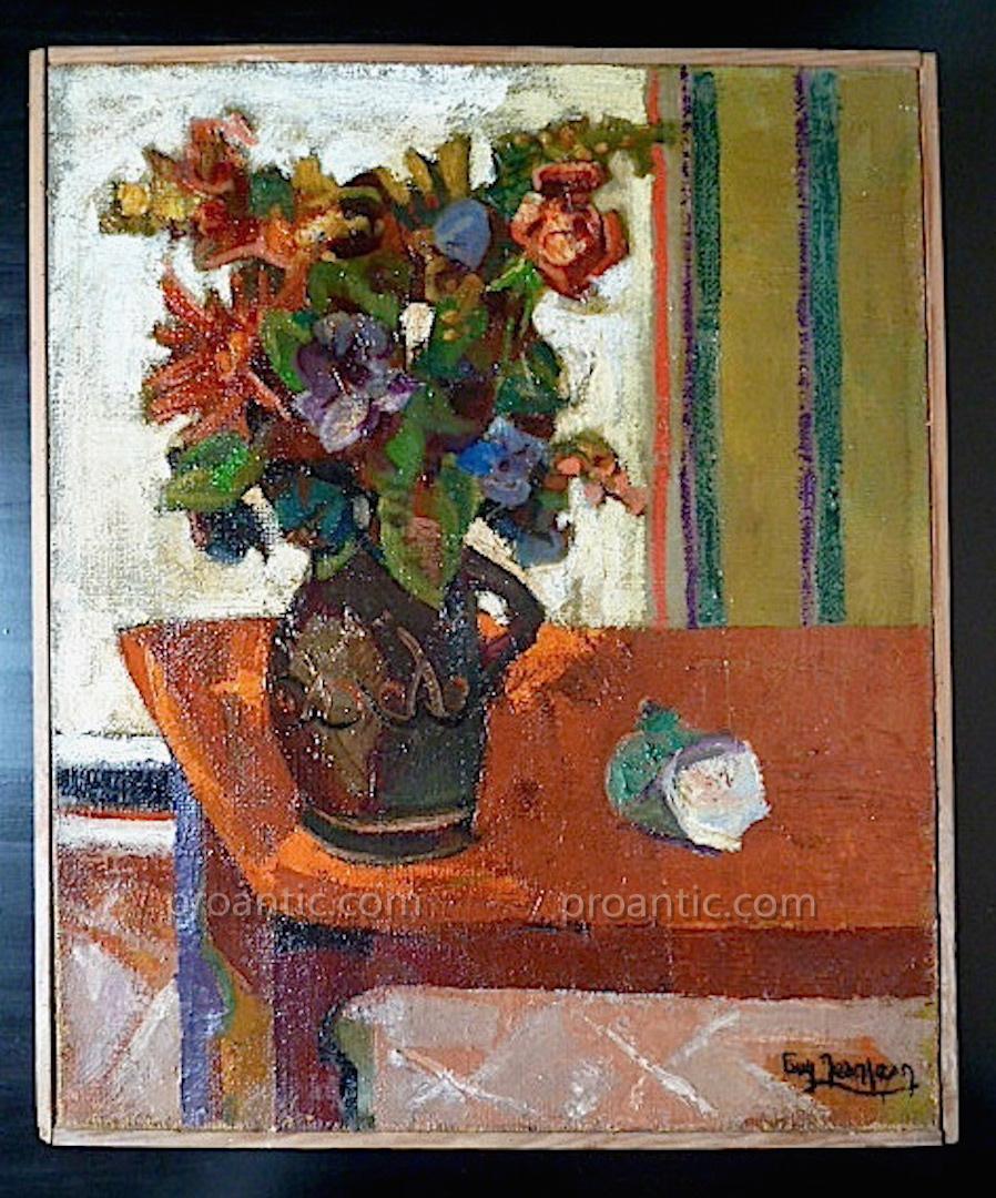 Bouquet Flowers Still Life Signed Fauve Jean Jean Ecole De Montpellier XX