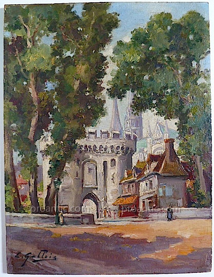 E Welsh Cityscape Chartres Cathedrale Porte Guillaume Signed E Welsh XIX XX Rt11