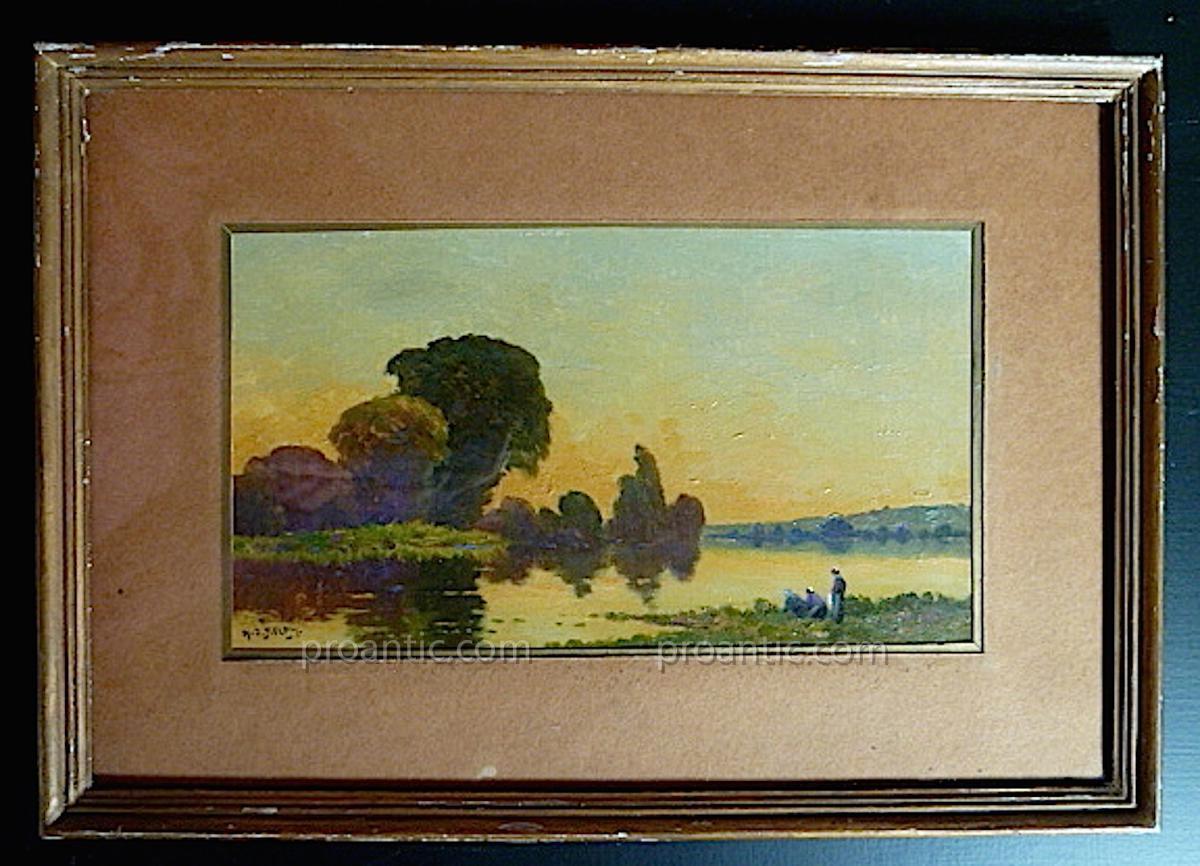 Henry Jacques Delpy Paysage Bord De l'Oise Lavandiere Barbizon Signé H J Delpy XX