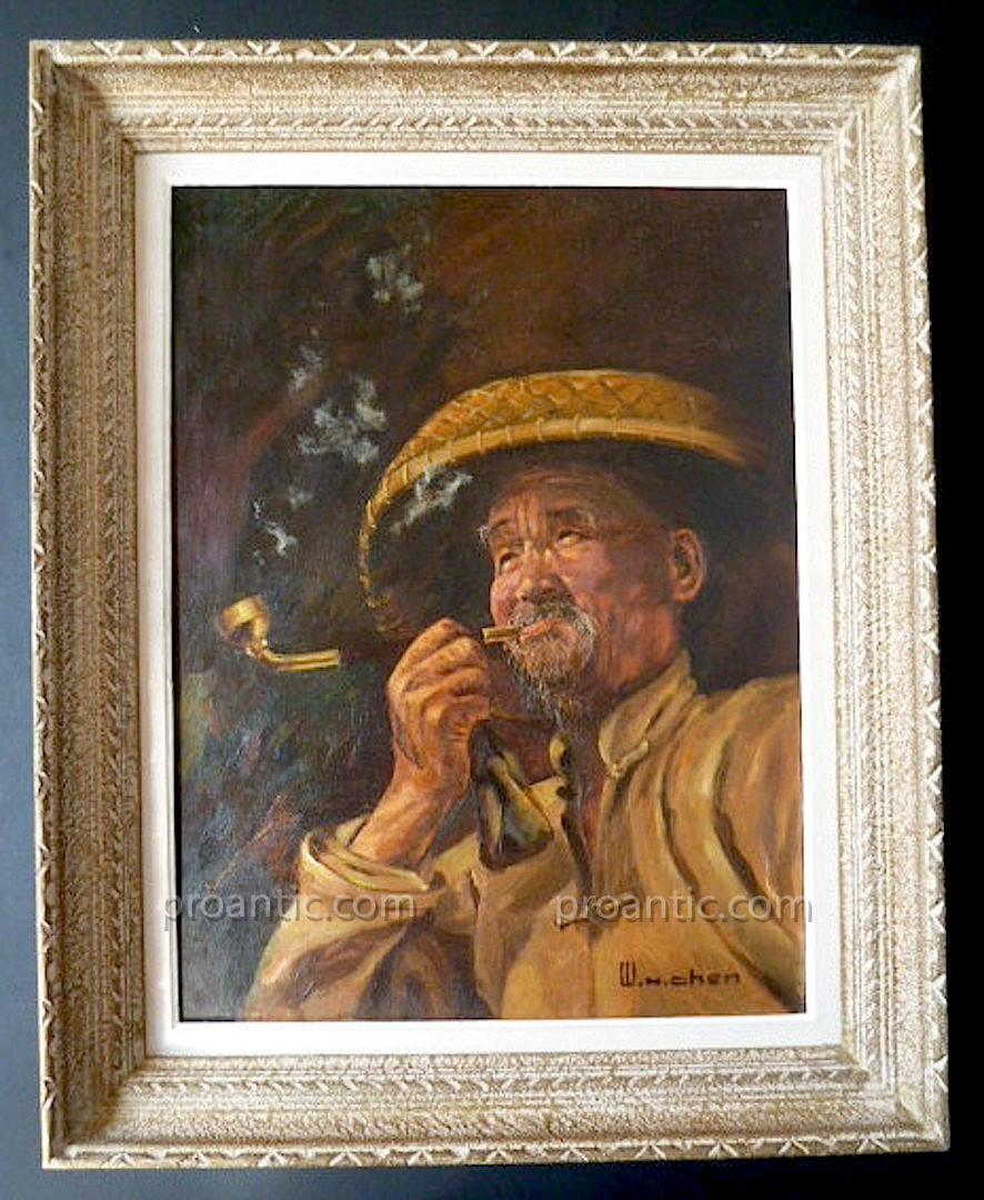 Wh Chen Signed Portrait Chinese Old Man At The Pipe China XX