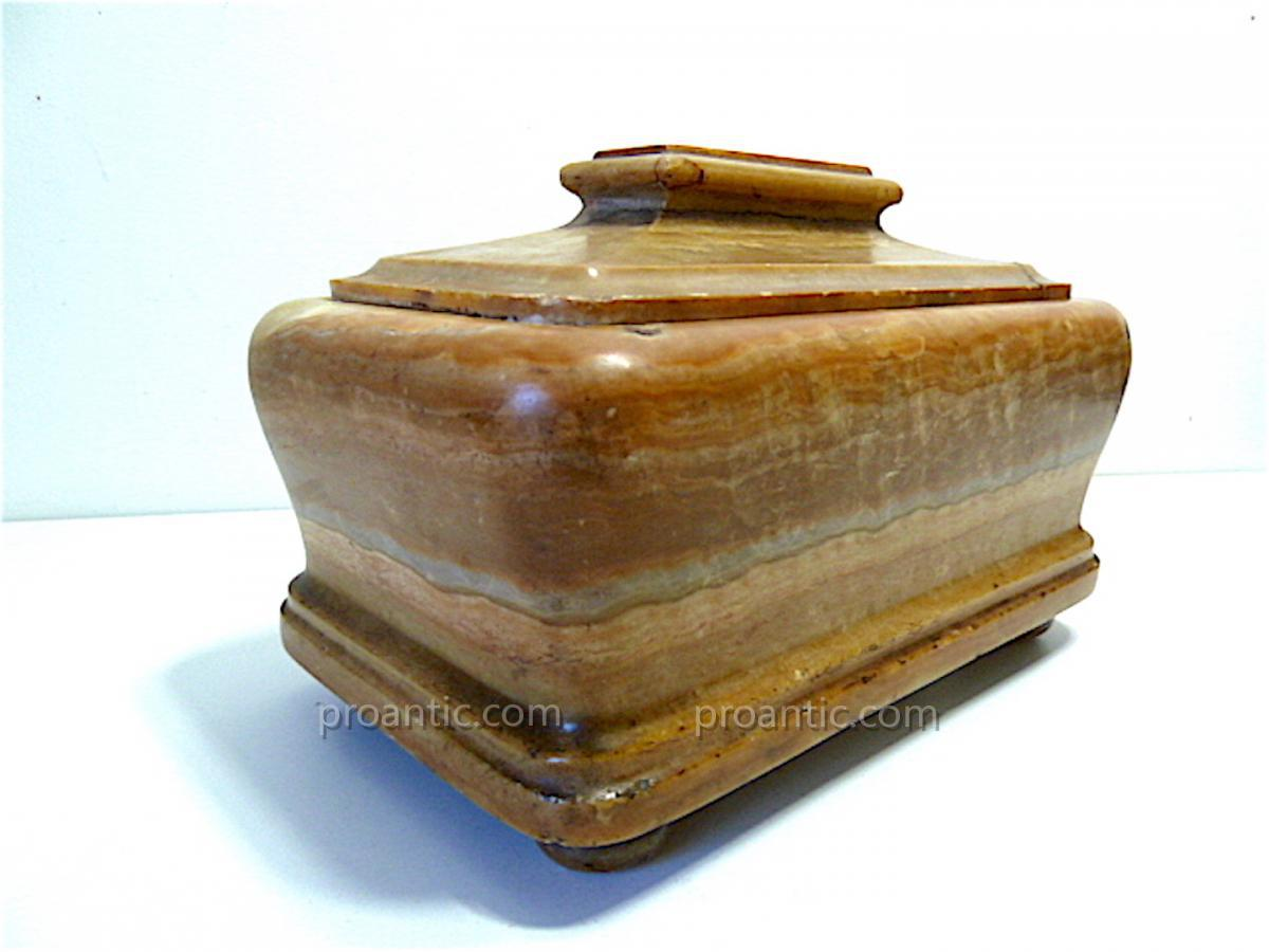 Boite à viscère coffret XVII ème Albâtre louis XIV pierre dure Médecine REF65-photo-2