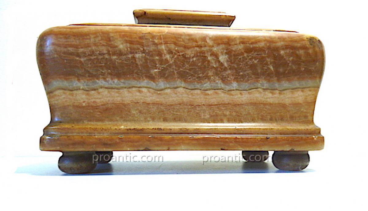 Boite à viscère coffret XVII ème Albâtre louis XIV pierre dure Médecine REF65-photo-3