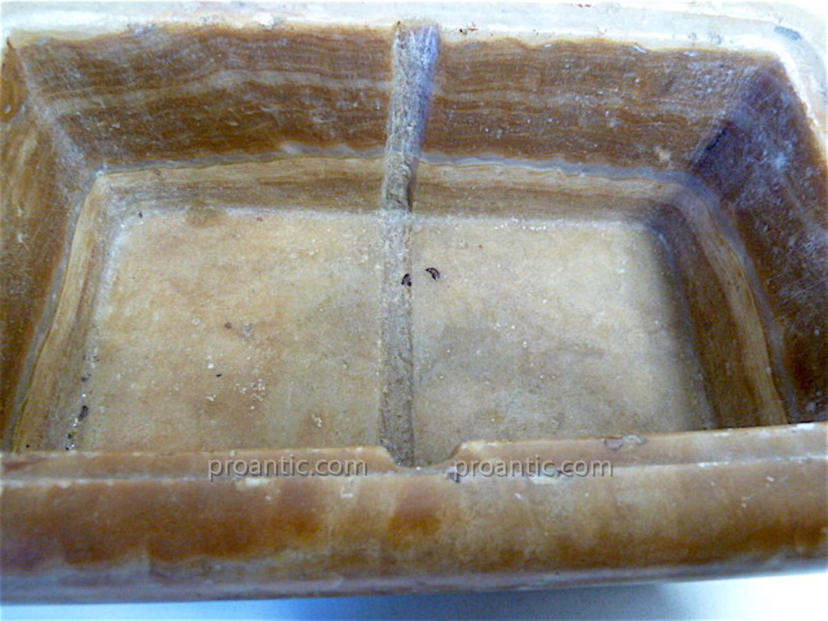 Boite à viscère coffret XVII ème Albâtre louis XIV pierre dure Médecine REF65-photo-4