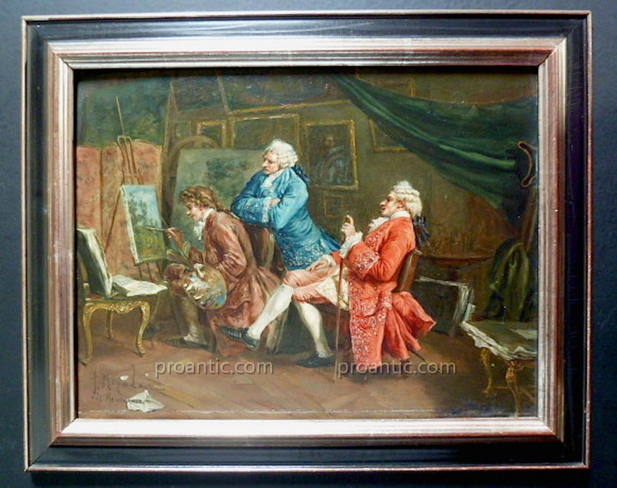 d'Après Meissonier Scène De Genre Atelier Du Peintre Signé école Française XIX ème