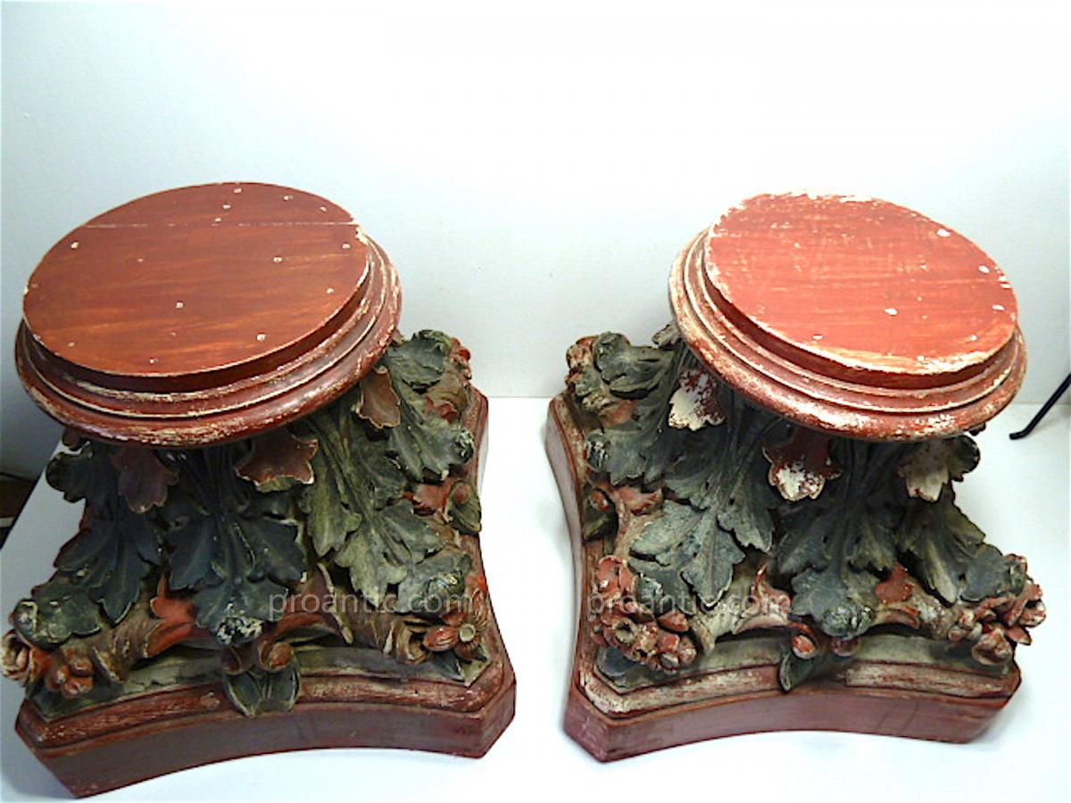 Pair of painted wooden stands for large statues vases or pair of painted wooden stands for large statues vases or sculptures 1900 h 38 cm floridaeventfo Images