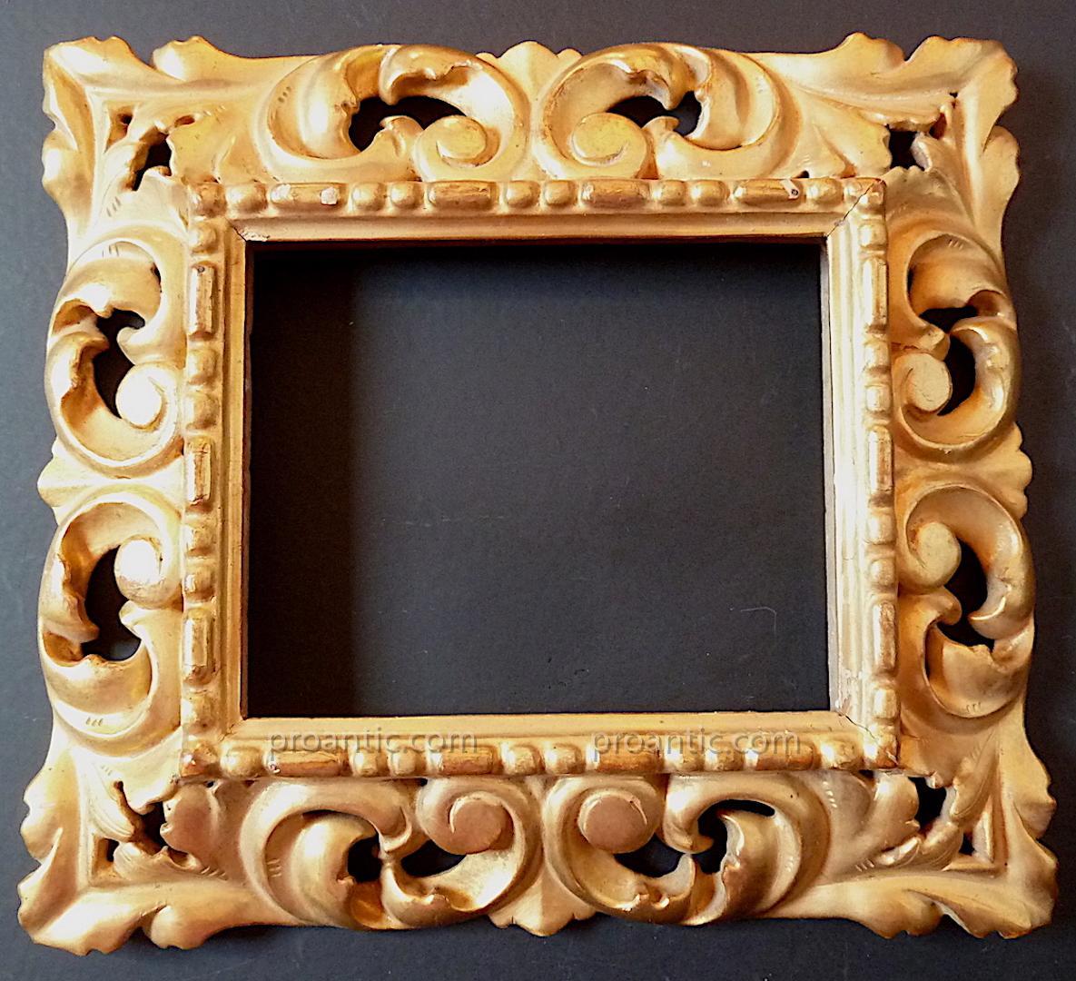 Golden Wood Frame Gold End Italian XIX Inverted Profile 16 X 13 Cm Frame Ref C572