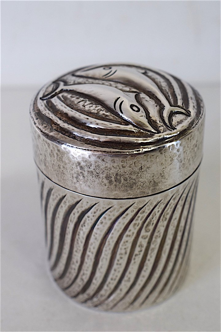 Box Dinanderie Sterling Silver Ilias Lalaounis Signed Dauphin XX Vintage 20th Greece Greek