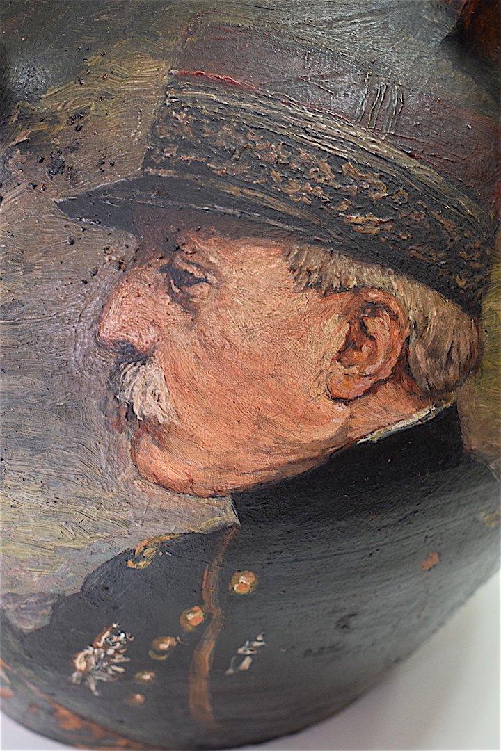 Cruche Peinte De Quatre Portraits De Généraux  Guerre 1914 1918 Militaire Militaria Signé -photo-4