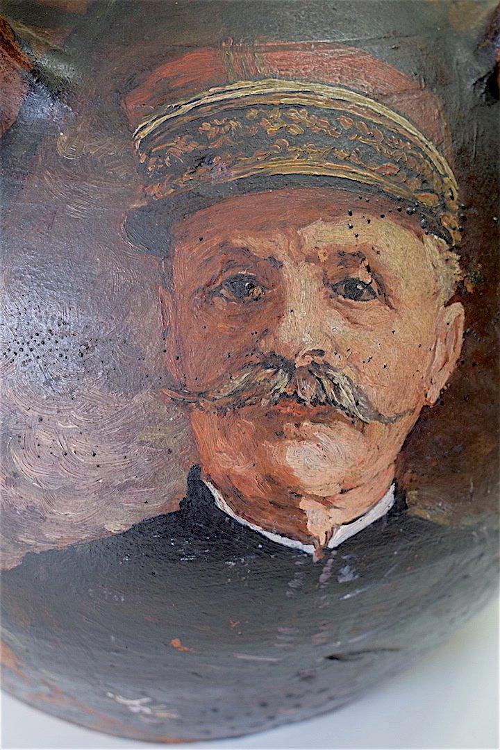 Cruche Peinte De Quatre Portraits De Généraux  Guerre 1914 1918 Militaire Militaria Signé -photo-5