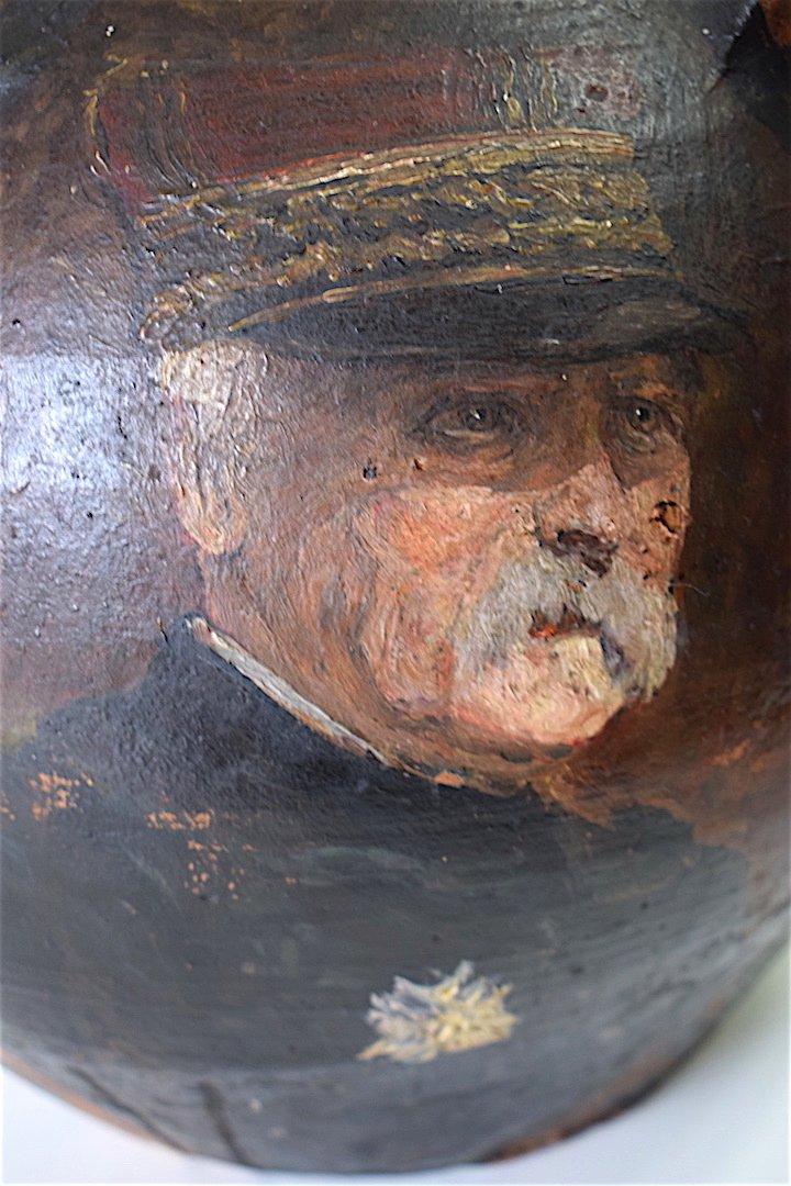 Cruche Peinte De Quatre Portraits De Généraux  Guerre 1914 1918 Militaire Militaria Signé -photo-6