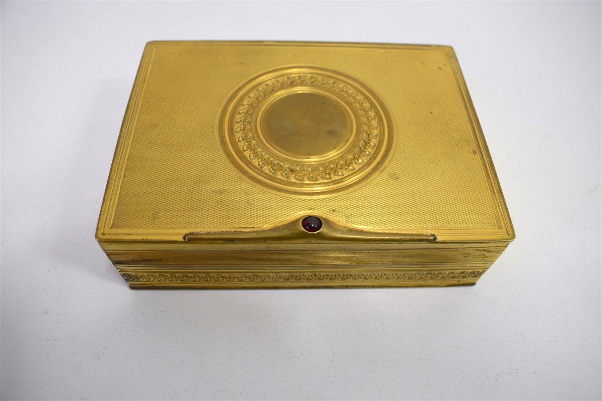 Boite en Bronze Doré à l'Or Fin et Grenat  Art Nouveau Art Déco 1900 Jugendstil