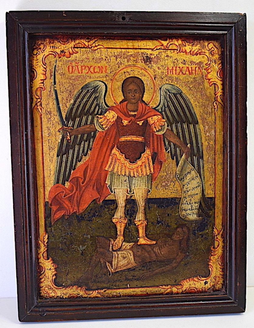 Icon Angel Archangel Saint Michael Religion XIX Th 1841